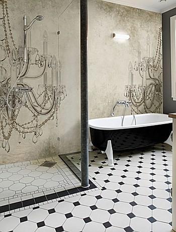 Carta da parati per il bagno - Carta da parati bagno lampadario ...